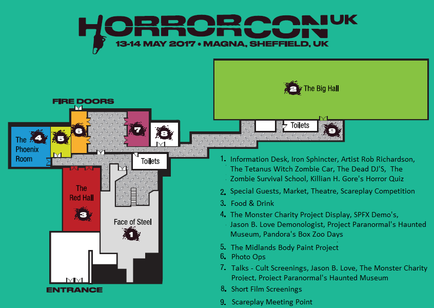 Diagram style map of the venue